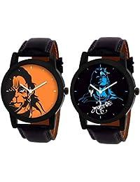 Shocknshop Analog Stylish MAHADEV & Hanuman Print Dial Combo Of 2 Watch For Men's & Boy's (W109120)