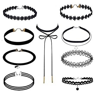 CR-Best Deal New Fashion 9Pcst Women Girl Black Rope Choker Necklace Stretch Velvet Classic Gothic Lace Chain Necklaces Set