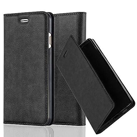 Apple iPhone 6 / 6S Hülle in NACHT-SCHWARZ von Cadorabo - Handy-Hülle mit unsichtbarem Magnet-Verschluss Standfunktion und Karten-Fach Case Cover Schutz-hülle Etui Tasche Book Klapp (Tasche Magnete)