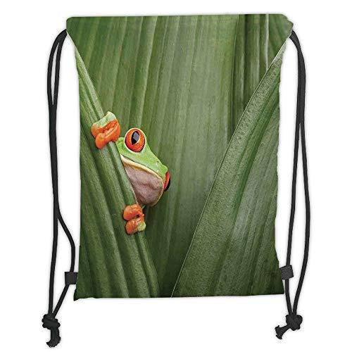 Juzijiang Drawstring Sack Backpacks Bags,Animal Decor,Red Eyed Tree Frog Crowling Between Leaves Tropical Jungle Rainforest Night Art,Green Soft Satin Closure,5 Liter Capacity,Adjustable. -
