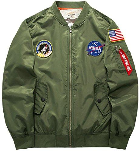 WS668 Frühling Herbst Herren Retro Patch Bomberjacke Klassik Pilots Mantel Taktische Jacken Mens Fashion Jacket (EU/DE XX-Large (Asia Tag...