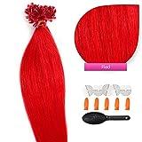 50 x 1,0g glatte indische Remy 100% Echthaar-Strähnen/ U-tip / Extensions / Haarverlängerung mit Keratinbondings 45 cm #red Rot - red