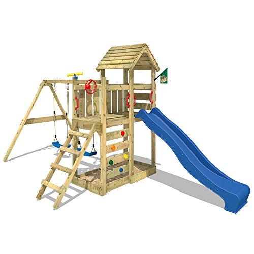WICKEY Spielturm MultiFlyer Kletterturm mit Holzdach Spielplatz Garten mit Schaukel, Rutsche und Kletterwand, blaue Rutsche