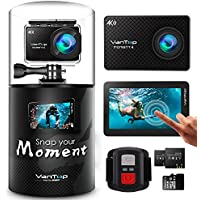 VanTop 4K Action Cam Moment 4 Action Kamera mit Touchscreen, 20MP WiFi Ultra HD Helmkamera 30m Unterwasserkamera, wasserdicht Action Kamera mit 170° Weitwinkelobjektiv EIS Sony Sensor, mit 32 GB Micro SD Karte, 2 Batterien und Zubehöre