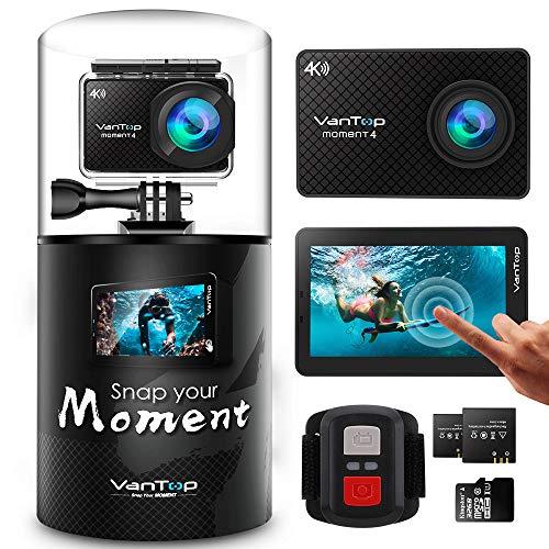 VanTop 4K Action Cam mit Touchscreen, 20MP WiFi Ultra HD wasserdichte Action Kamera, 30m Unterwasserkamera, 2 Batterien und Zubehör kits