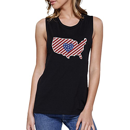 365 Printing Pull sans manche - Sans Manche - Femme Taille Unique USA Map American Flag Black Muscle Top