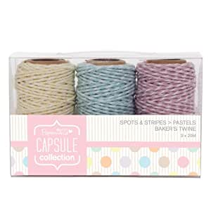 Papermania 20 m 3-Piece Capsule Collection Spots and Stripes Pastels Bakers Twine, Multi-Colour