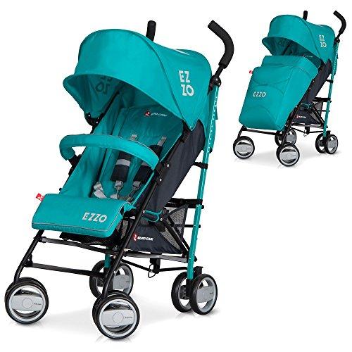 LCP Kids - Passeggino EZZO Smeraldo passeggino sportivo pieghevole in alluminio con schienale regolabile