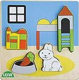 Lena 32144 - Holzpuzzle Kinderzimmer, Kinderpuzzle mit Grundplatte 14 x 14 cm und 4 Puzzleteilen, Teile und Platte aus 100% FSC Holz, Puzzlespiel für Kinder ab 18+ Monaten, Legespiel für Kleinkinder