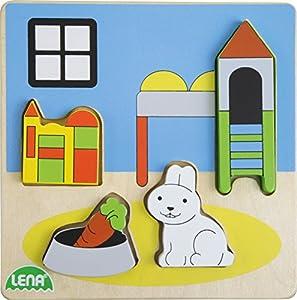 Lena 32144Madera Puzzle habitación de los Niños, 4Piezas