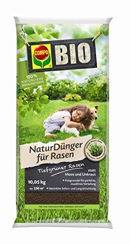 COMPO BIO NaturDünger für Rasen, Natürliche Sofort- und Langzeitwirkung, 100 % natürliche Inhaltsstoffe, Feingranulat, 10,05 kg, 250 m²