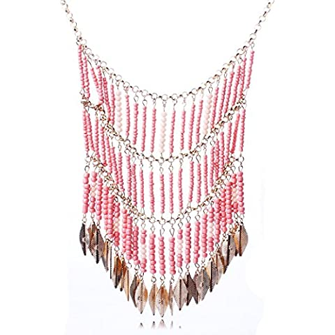 QIYUN.Z Oro 18K Progettazione Tenda Piccola Perline Donne Con Pezzi D'Epoca Elegante Collana A Bavaglio - Progettazione Gioielli D'oro
