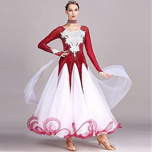 Damen Hand Bestickt Modern Dance Kleid Große Pendel Rock GB Dance Kleid Tanzwettbewerb Performance Kleid Strass Tanz Kostüm Tango Walzer Rock,Red,XL (Swing Ballroom Tanz Kostüme)