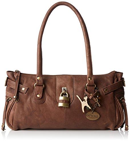 """Lederhandtasche """"Chancery"""" von Catwalk Collection - Braun - Größe: B: 34,25 H: 16 T: 9 cm"""