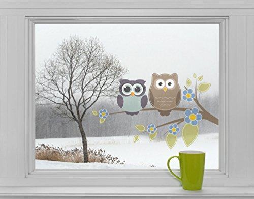 Eulen auf Ast mit Blumen - Fenstersticker Sticker Aufkleber Vögel F004