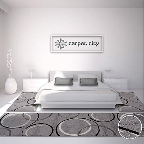 Teppich Modern Moda Kreis Bettumrandung grau schwarz creme 2x 80x150 & 1x 80x300