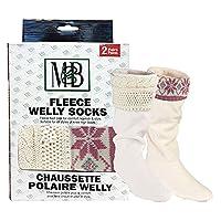 Moneysworth & Best Fleece Welly Socks - Cream Knit/Pink Motif - Pack of 2 - Size Medium