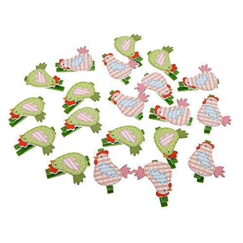Baoblaze 20 Stück Mini Holzklammern Deko Klammern Wäscheklammern Zierklammern - 20 Stück Huhn (Recycling Halloween Basteln)
