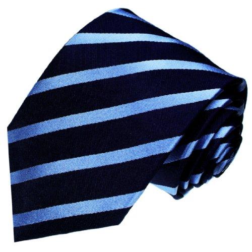 LORENZO CANA - Marken Krawatte aus 100% Seide jacquard gewebt dunkelblau hellblau blau marineblau gestreift Streifen - 25026 (Breite Streifen-krawatte)