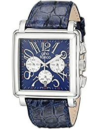 gino franco Men's 942BL Square Chronograph Stainless Steel Genuine Leather Strap Watch