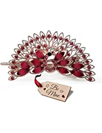 Tied Ribbons Multicolour Metallic Peacock Hair Clip With Be Mine Wooden Tag For Women