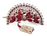 TiedRibbons® Valentine Gifts for Girlfriend Peacock Hair Clip with Be Mine Wooden Tag