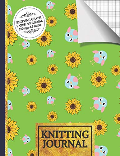 Knitting Journal: Sunflowers and Birds Knitting Journal to Write in, Half Lined Paper, Half Graph Paper (4:5 Ratio) Set Sunflower-design