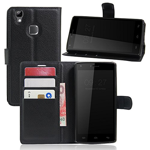 Tasche für DOOGEE X5 Max / X5 Max Pro Hülle, Ycloud PU Ledertasche Flip Cover Wallet Case Handyhülle mit Stand Function Credit Card Slots Bookstyle Purse Design schwarz