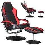 Fernsehsessel Design Relax-Sessel Bezug Kunstleder schwarz / rot drehbar mit Hocker Racer