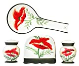 STOVE TOP SET : Tuscany Floral Poppy Hand Painted Kitchen 4pc Stove Top Set, 84725/28 by ACK