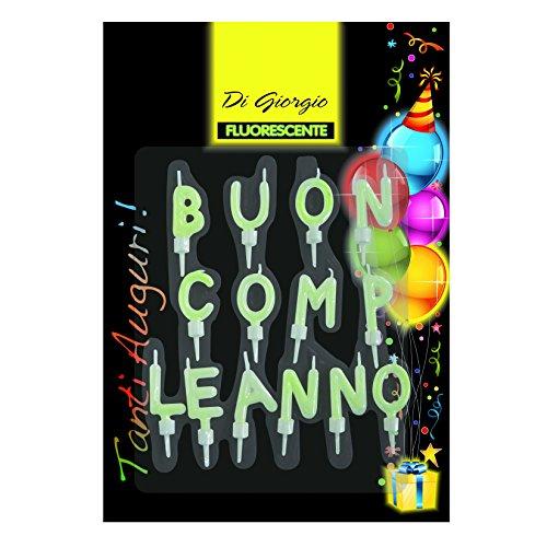 Cereria de Giorgio 5429velas fluorescentes 'Buon Compleanno' con soporte