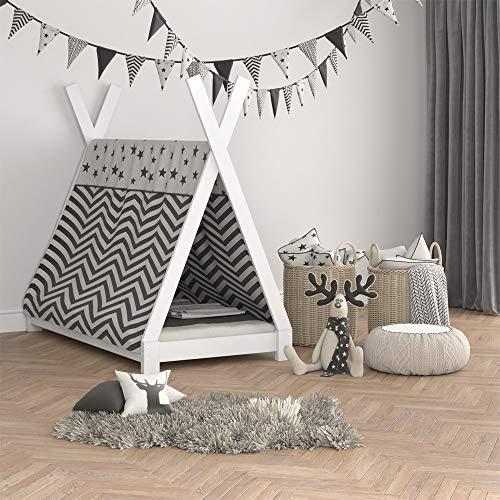 Vicco Kinderbett TIPI Kinderhaus Indianer Zelt Bett Kinder Holz Haus Schlafen Spielbett Hausbett 80×160 (Weiß) - 4