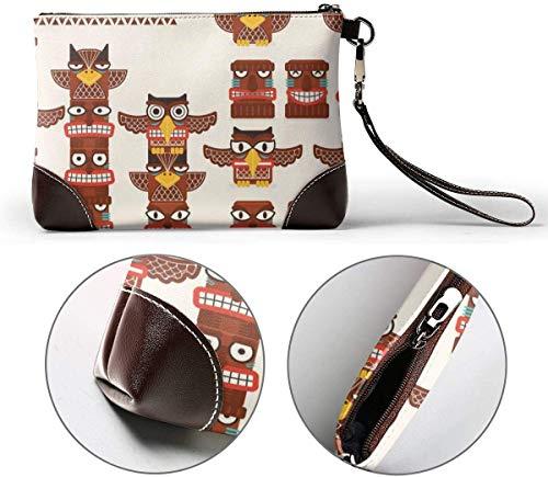 Portemonnaie, Totem Pole Clip Art Leather Hand Bag 3D HD Printed,Makeup Bag Handbag Purse Wristlet Wallet Clutch Phone Purse Money Pouch Wristlet Clutch Bag for Women
