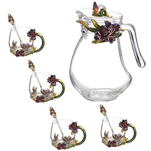 Glas-Kaffeetasse, Teetasse, bleifreies Kristallglas, handgezeichnetes Emaille-Handwerk, Holz-Geschenk-Boxen, Geschenke für Frauen Iris: Set of 5