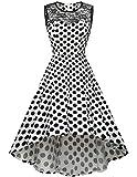 HomRain Damen 1950er Vintage Retro Rockabilly Cocktail Spitzenkleid Party Abendkleider White Big Black Dot 3XL