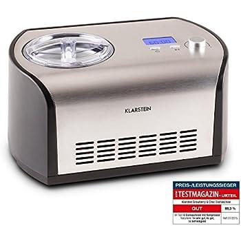 Speise Eismaschine Eisbereiter Eiscrememaschine Kompressor Edelstahl Silber 2L