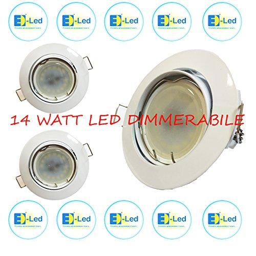 E-lED Kit Spot Dimmable LED 7 W-14 W-28 W-42 W à encastrer lumière blanche froide puissant LED SMD 2835 corps lampe céramique longue durée Blanc – Chrome – Nikel BIANCO-CROMO LUCIDO -NICHEL SPAZZOLATO