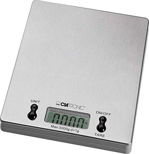 Digitale Küchenwaage bis 5 Kg (1 Gramm Schritten, LCD-Display, Abschaltautomatik, große stabile Edelstahl Auflage, Tara Funktion)