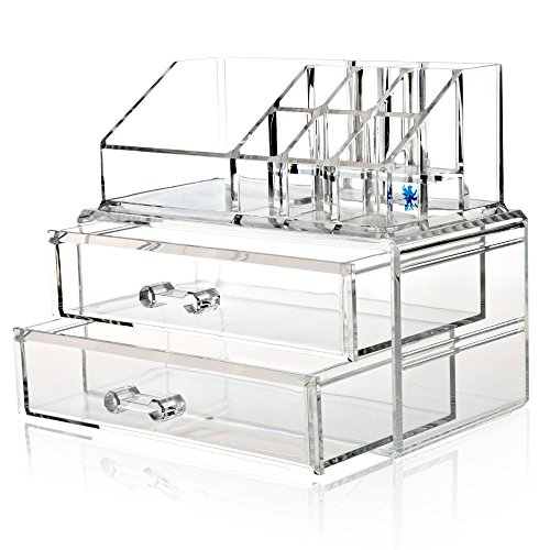 H&S® Acrylic Clear Make up Makeup Organiser Cosmetic Box – 2 Drawers