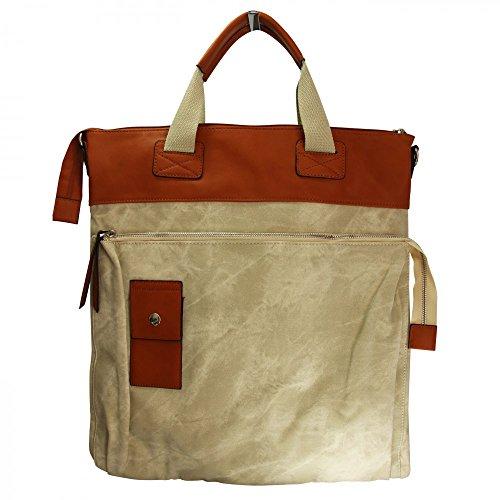 Shopping-et-Mode - Grand sac à main rectangulaire beige et camel original effet jean et toucher peau de pêche - Beige, Simili-cuir