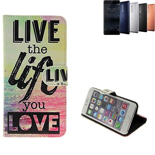 K-S-Trade Für Nokia 5 Dual-SIM 360° Wallet Case Schutz Hülle ''live The Life You Love'' Schutzhülle Handy Hülle Handyhülle Handy Tasche Etui Smartphone Flip Cover Flipstyle für Nokia 5 Dual-SIM