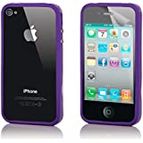 32nd® Bumper case cover for Apple iPhone 4 4S + screen protector and cleaning cloth - Purple