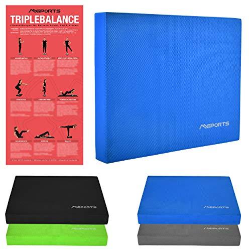 MSPORTS Balance Pad - Premium - inkl. Balance - Übungsposter - Gleichgewichtstraining und Koordinationstraining (Blau)