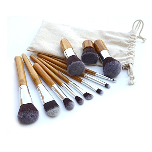 Set De 11 Maquillage Pinceaux - Cheveux Synthétiques, Virole En Aluminium, Poignée En Bambou, Sac En Lin [ARTUROLUDWIG]