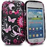 Accessory Master- Noir / Rose papillon fleurs silicone Housse pour Samsung galaxy S3 mini