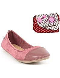 Etashee Faux Leather Walk Cut Tip Design Flat Brown Bellies/shoes With Red Printed Sling Bag For Women - B0792TQQS1