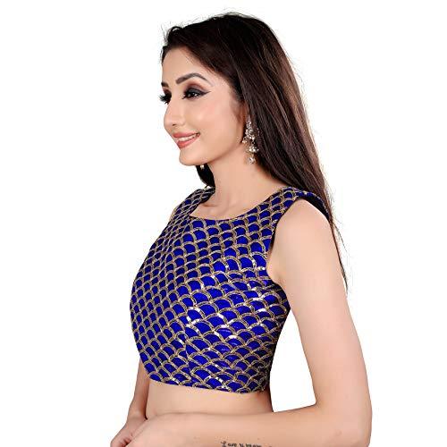 Spangel Fashion Sequence Work Round Neck Women's Saree's Blouse (Medium, Blue)