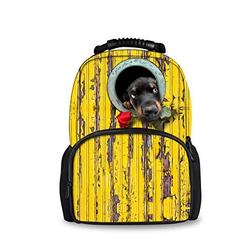 Leichte College Student School Schulter Schule Bookbags gelb große Rucksäcke (Color : Dog Pattern-2, Size : -)