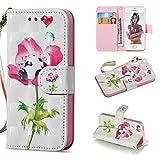 Carols iPhone 5 Cover, PU Premium Leather Silicone TPU Custodia iPhone 5 5S 5G / iPhone SE Flip Cuoio Cover - Un Fiore
