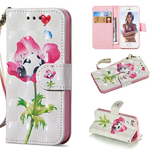 Carols iPhone 5 Cover, PU Premium Leather Silicone TPU Custodia iPhone 5 5S 5G / iPhone SE Flip Cuoio Cover - Un Fiore